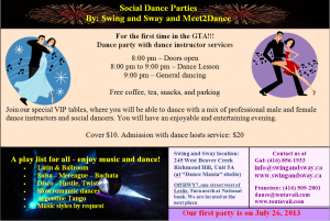 Social Dance Party at Swing and Sway on July 26th, 2013